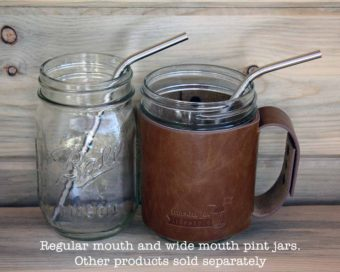 Thin bent stainless steel straws for pint Mason jars and other medium glasses