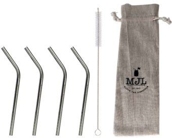 Short thin bent stainless steel straws 4 pack with cleaner and cloth storage bag