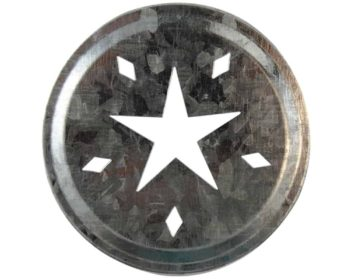 Galvanized metal star primitive cut lid insert for regular mouth Mason jars
