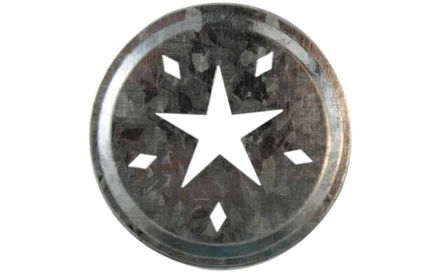 Galvanized metal star primitive cut lid insert for regular mouth Mason jars