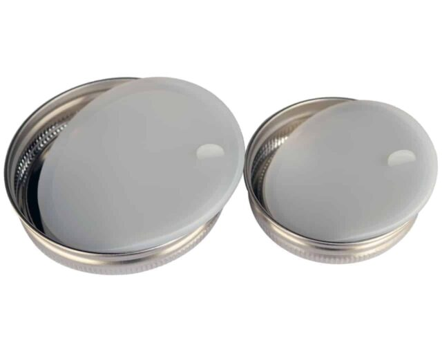 Leak proof platinum silicone lid liners with tab out of regular and wide mouth stainless steel lids for Mason jars