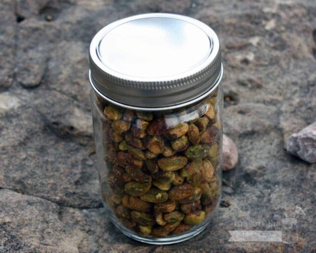 Stainless steel one piece storage lid for regular mouth Mason jars with nuts