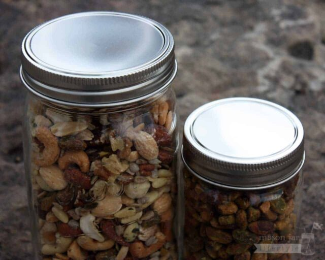 Stainless steel one piece storage lid for regular and wide mouth Mason jars with nuts
