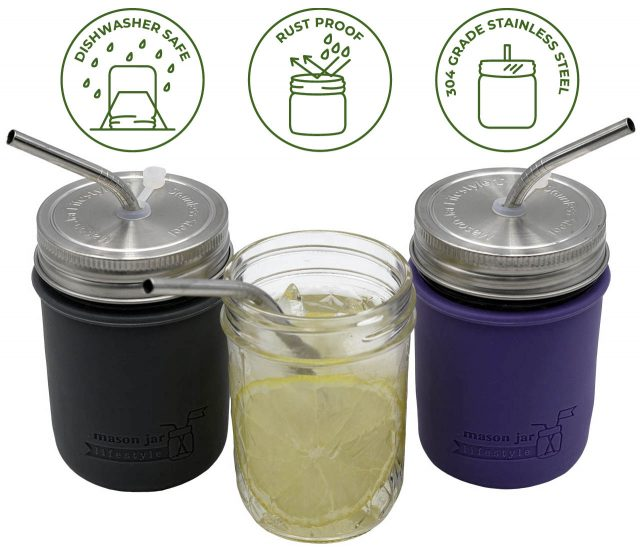 mason-jar-lifestyle-rust-proof-stainless-steel-straw-hole-lids-regular-mouth-mason-jars-silicone-grommet-short-thin-bent-straws-silicone-sleeves-koozies-icons