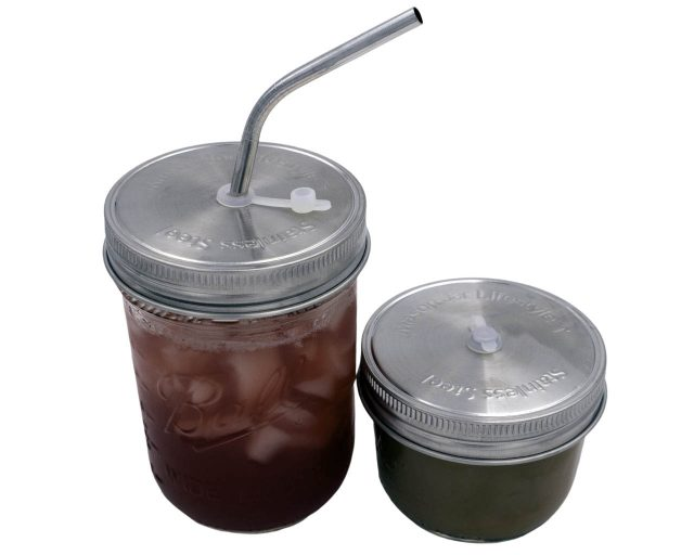 Stainless Steel Rust Proof Straw Hole Lid for Wide or Regular Mouth Mason Jars with Silicone Grommet and Sealing Ring