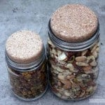 Cork lids stoppers on regular and wide mouth Mason jars with nuts