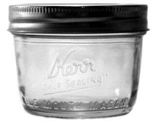 Kerr wide mouth half pint Mason jar
