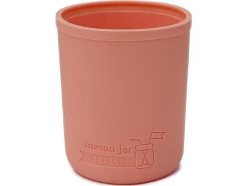 Light coral silicone koozie for half pint 8oz Mason jars kozie coozie cozie sleeve