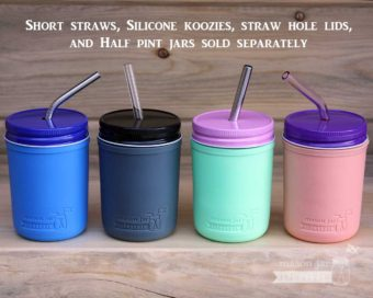 Silicone sleeves for half pint 8oz Mason jars with lids and reusable straws koozies kozies coozies cozies