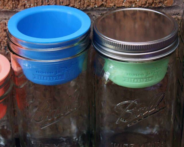 Divider cups for wide mouth Mason jars lid on and off
