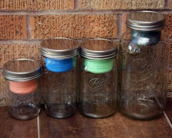 Mason jar divider cups in wide mouth pint, pint & half, quart, and half gallon jars