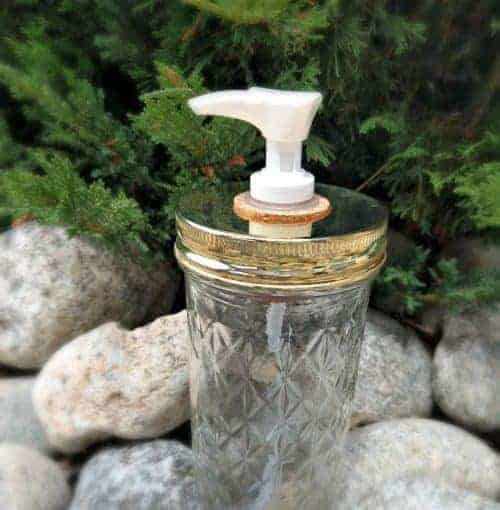 Mason jar soap pump - 12oz quilted Ball jar with shiny gold lid and white plastic pump in cork
