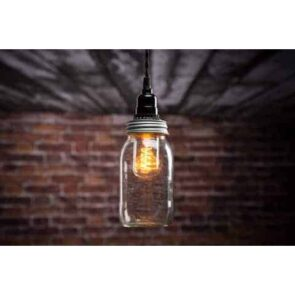 Mason jar pendant light on ceiling