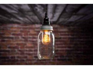 Mason jar pendant light on ceiling