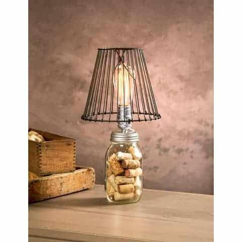 Mason jar silver lamp adapter on jar