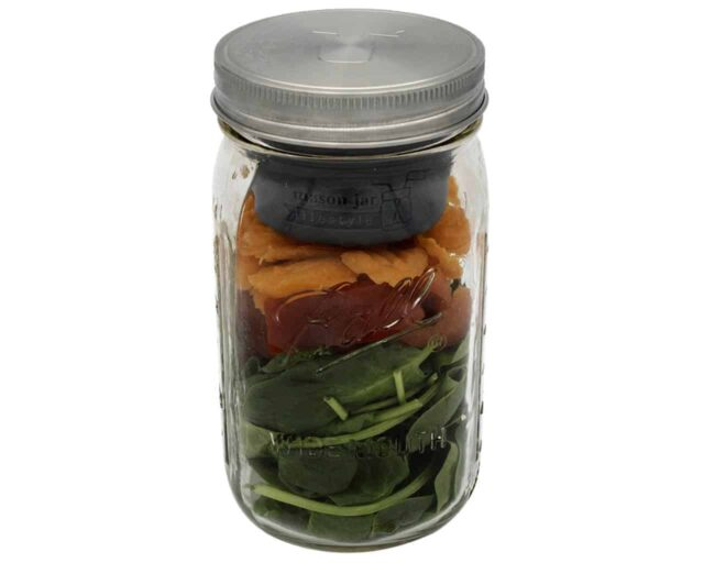 mason-jar-lifestyle-divider-dressing-cup-quart-32oz-ball-mason-jar-salad-carrots-peppers-charcoal-gray-stainless-steel-lid