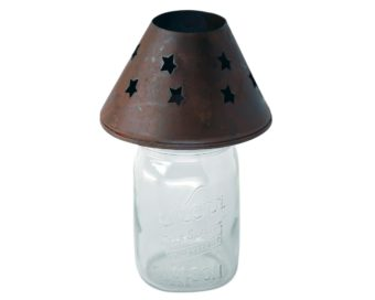 Rusty tin shade decorative topper for regular mouth Mason jars
