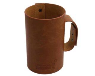 Faux leather sleeve with handle / travel mug for Ball pint & half 24oz jars