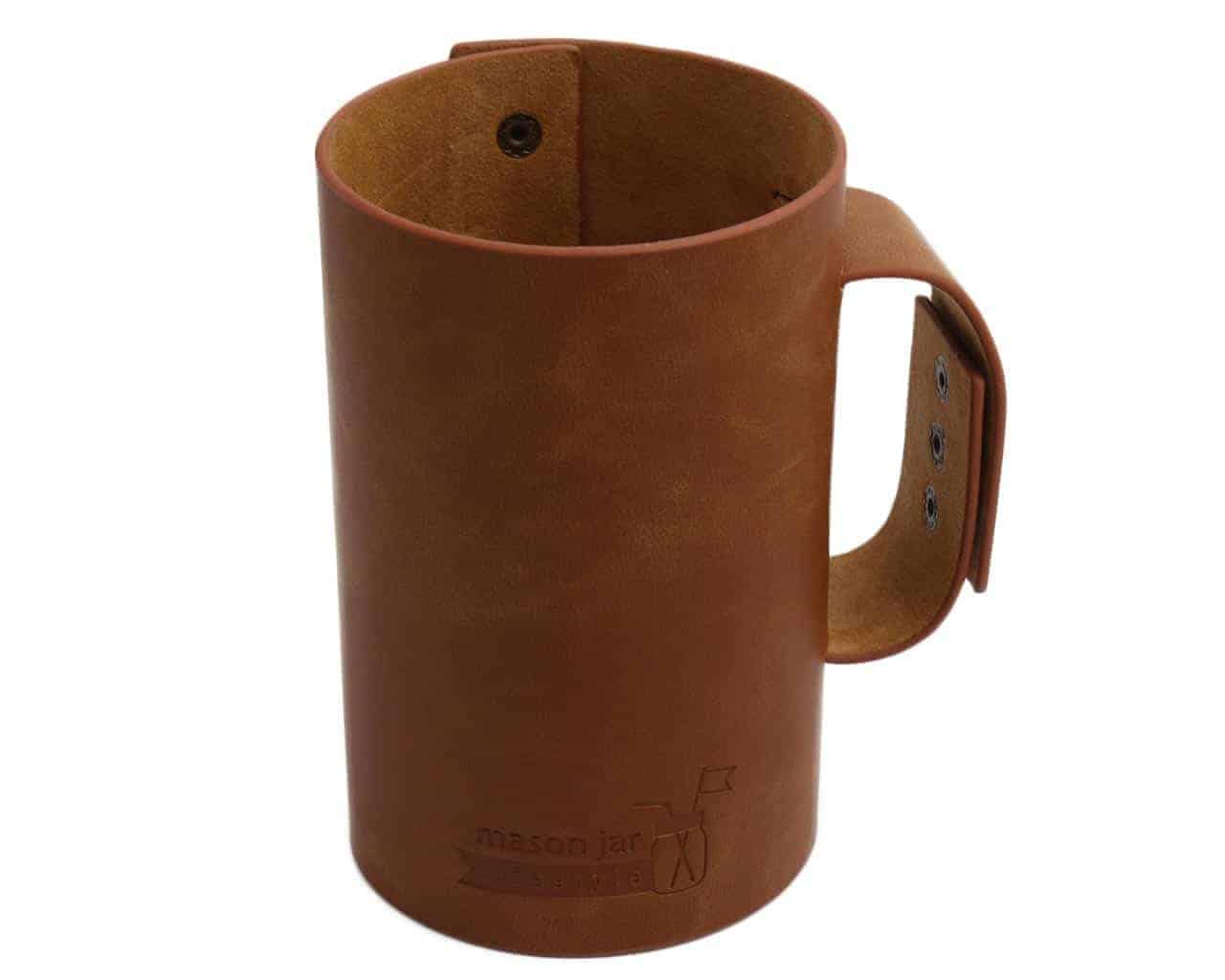 Faux Leather Sleeve With Handle For Pint Half Mason Jars