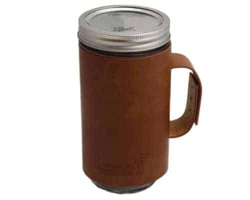 Faux leather sleeve with handle / travel mug on Ball pint & half 24oz Mason jar