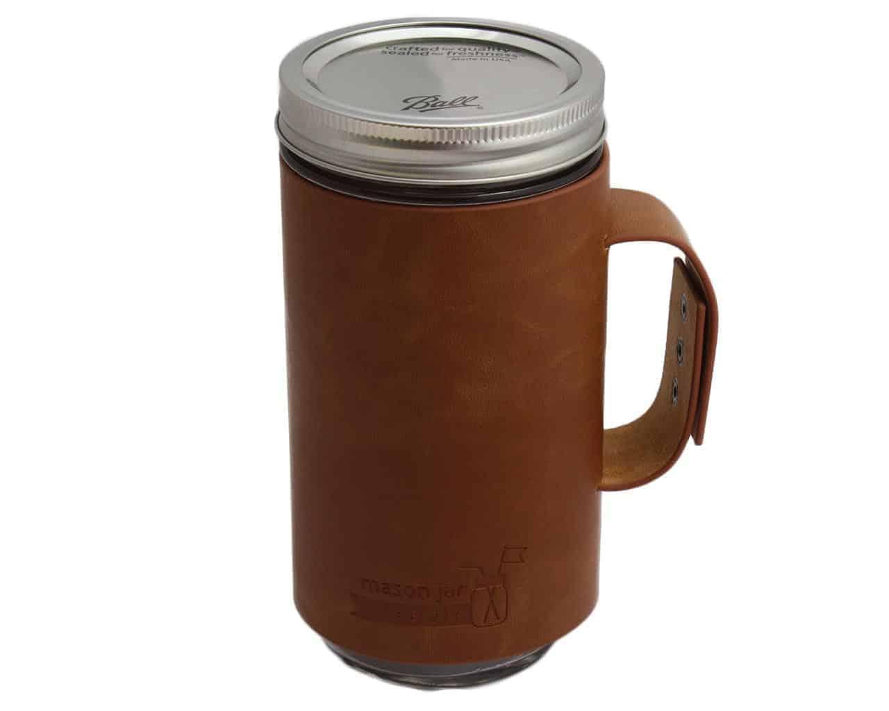 ... sleeve with handle / travel mug on Ball pint & half 24oz Mason jar