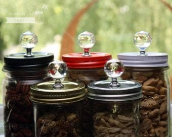 5 colors of crystal knob canister lids for regular mouth Mason jars