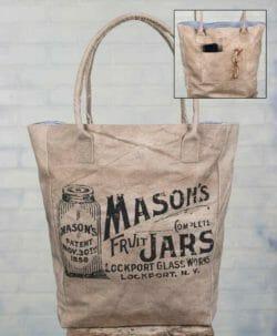 Adorable canvas bag featuring a Mason jar design