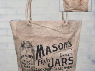 Adorable canvas bag featuring a Mason jar design