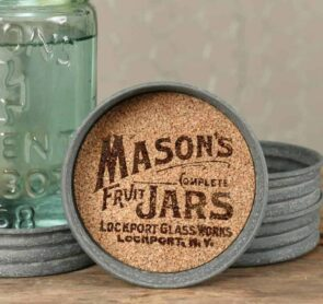 Mason jar lid coasters with cork inserts