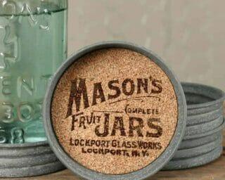 Mason jar lid coasters with cork inserts