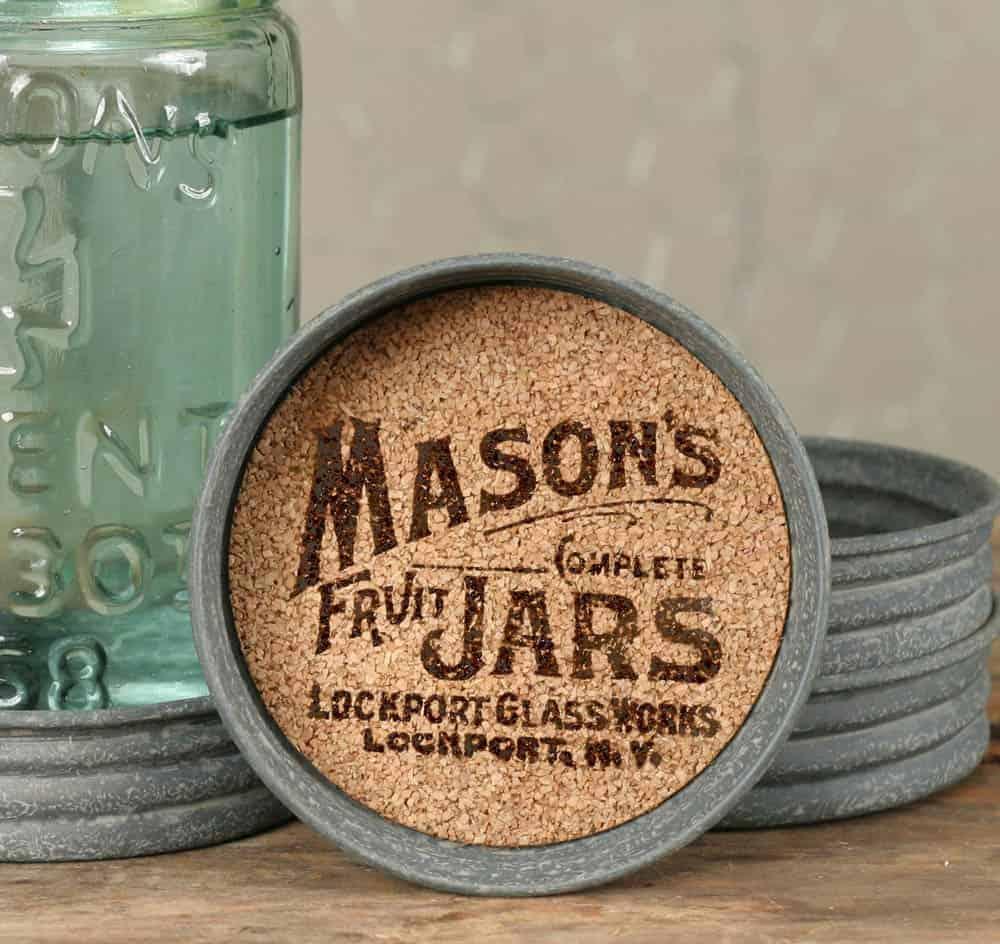 Mason Jar Lid Coasters 4 Pack