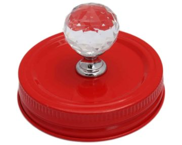 Red crystal knob canister lid for regular mouth Mason jars