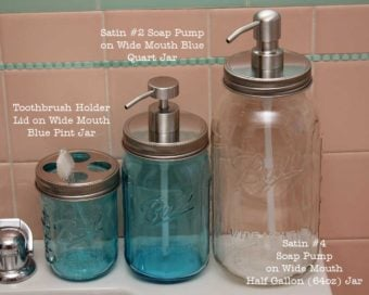 Stainless steel wide mouth soap lids and toothbrush lid on pint, quart, and half gallon Ball Mason jars