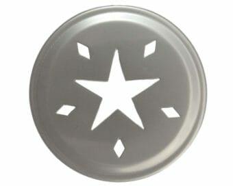Stainless steel star cut lid insert for regular mouth Mason jars