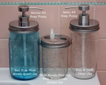 Stainless steel wide mouth soap lids and toothbrush lid on 3 sizes of Ball Mason jars