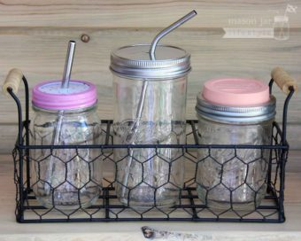 Three jar caddy with 3 pint Ball jars and drinking lids