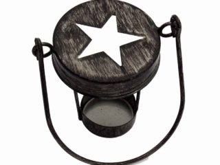 Antique black star cutout tea light candle holder with handle for regular mouth Mason jars