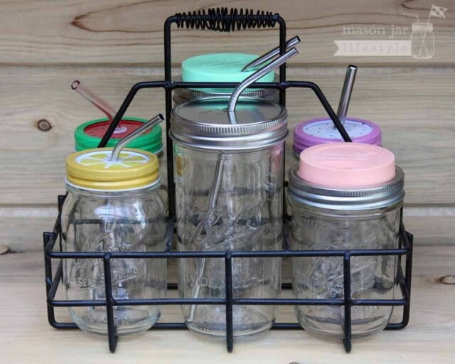 Six jar caddy for Mason jars with Ball and Kerr jars and drinking lids and straws