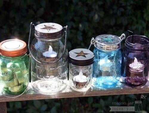 Five styles of tea light candle holders on Ball and Atlas Mason jars