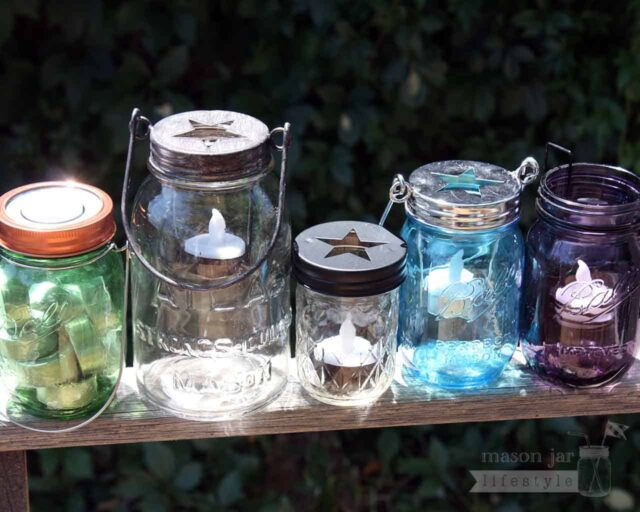 Five styles of tea light candle holders on Ball and Atlas Mason jars