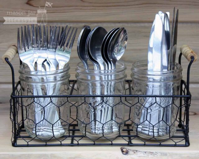 Flatware utensil caddy organizer with three wide mouth pint Ball Mason jars and silverware