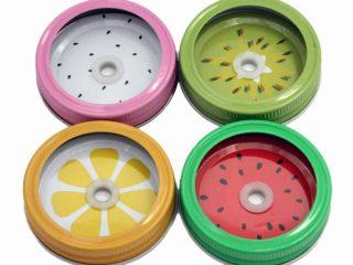 Fruit straw hole tumbler lids for regular mouth Mason jars - watermelon, dragon fruit, kiwi, and lemon