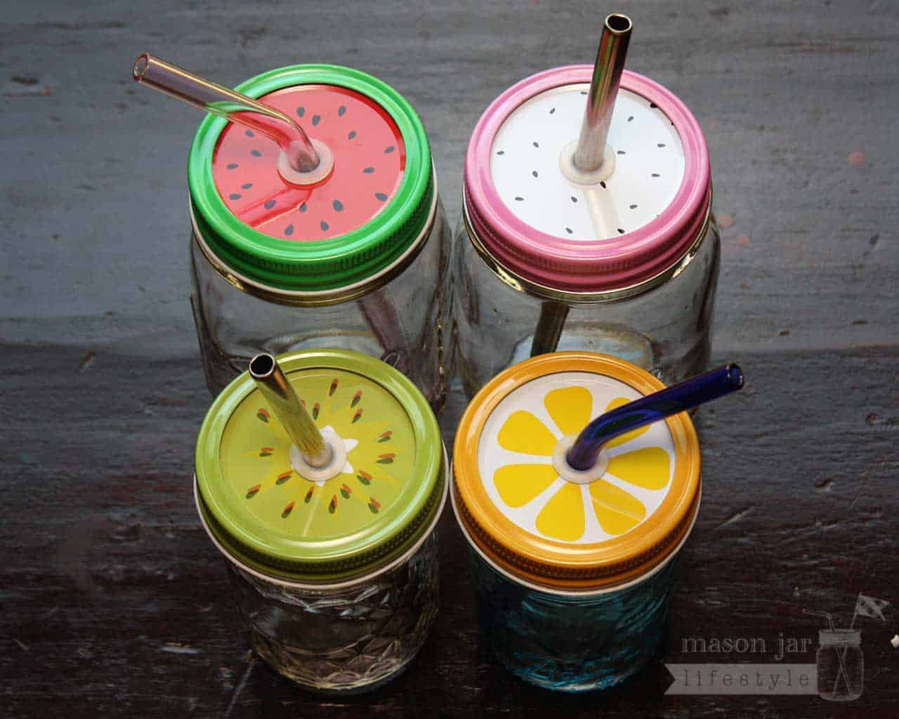 Fruit Straw Hole Tumbler Lids For Regular Mouth Mason Jars