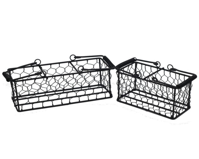 Black Painted Steel Chicken Wire Caddy for Two or Three Pint Jars