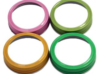 Pink, green, and yellow painted bands / rings for regular mouth Mason jars