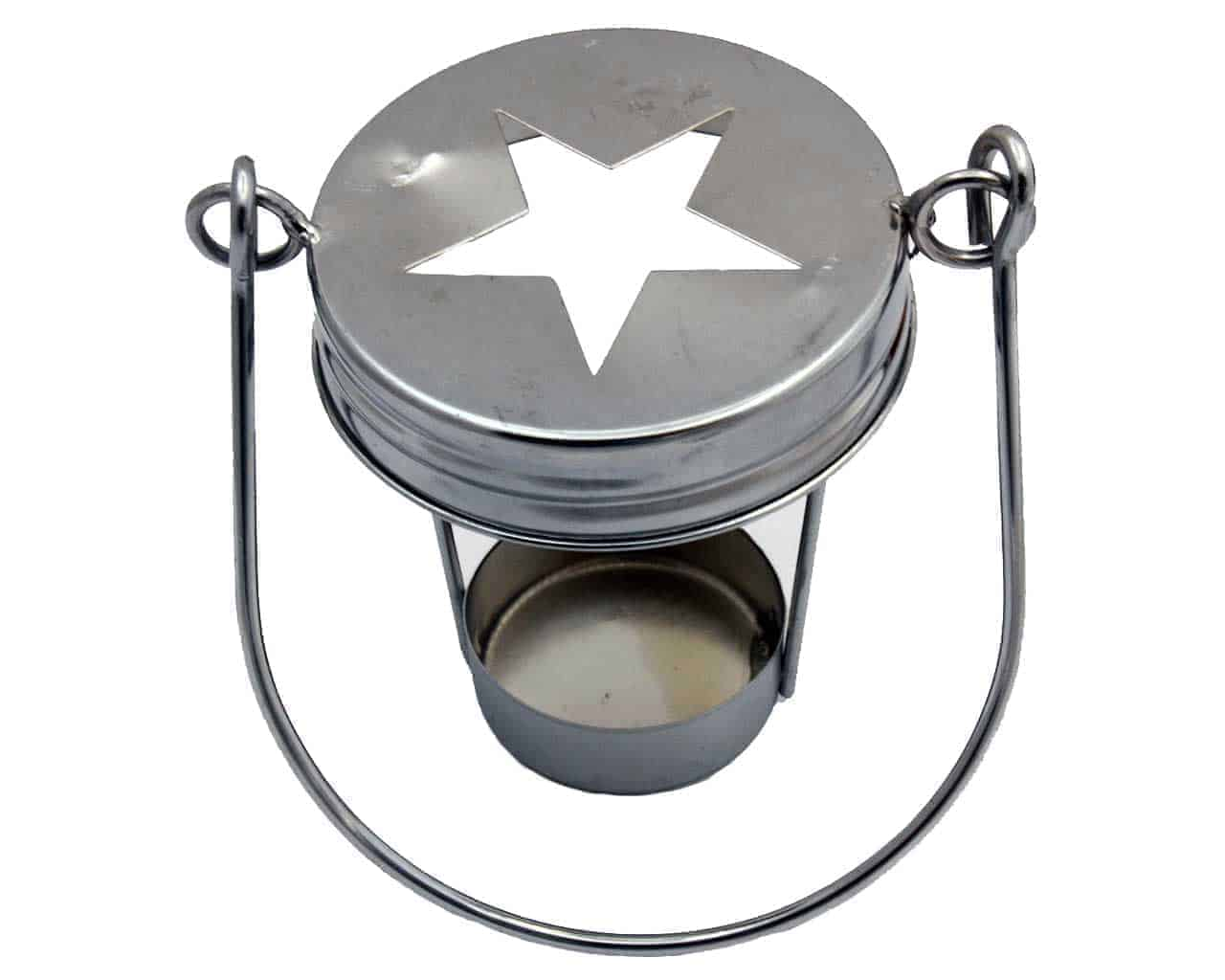 Silver Star Cutout Tea Light Candle Holder With Handle For