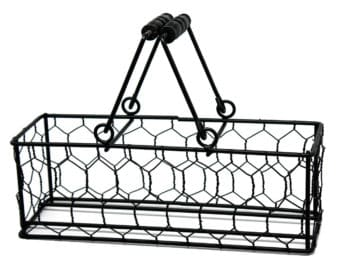 Chicken wire caddy with wood handles for three pint Mason jars