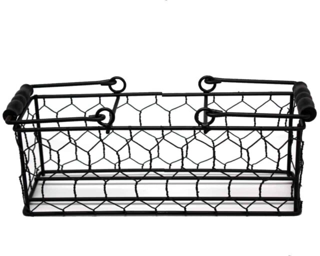 Chicken wire caddy with wood handles for three pint Mason jars handles down