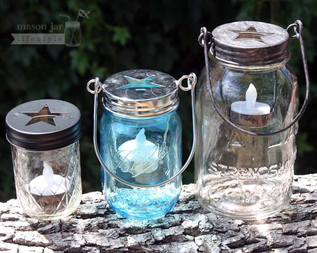 Three Colors Of Star Tea Light Candle Holders With Handles On Ball