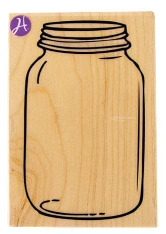 Large Mason jar wood and rubber stamp